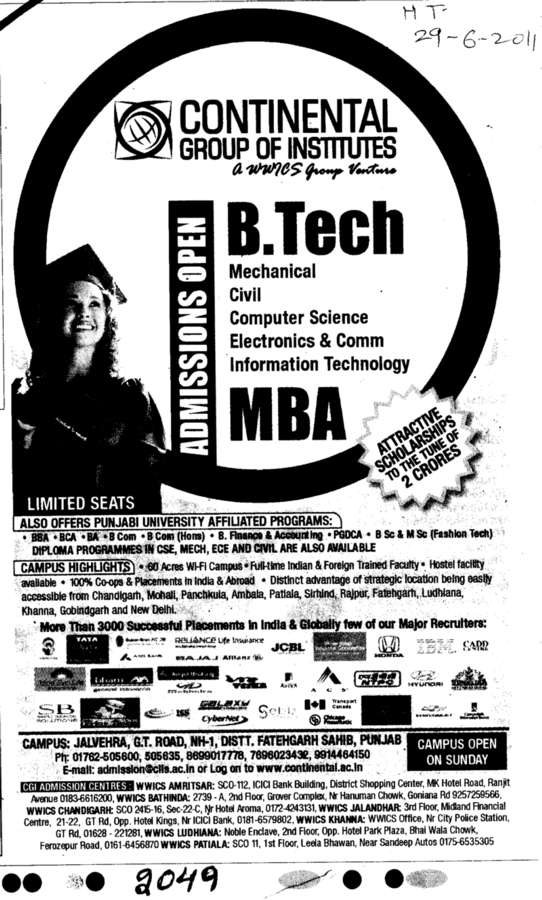 MBA and BTech Programmes (Continental Group Institute Jalvehra)