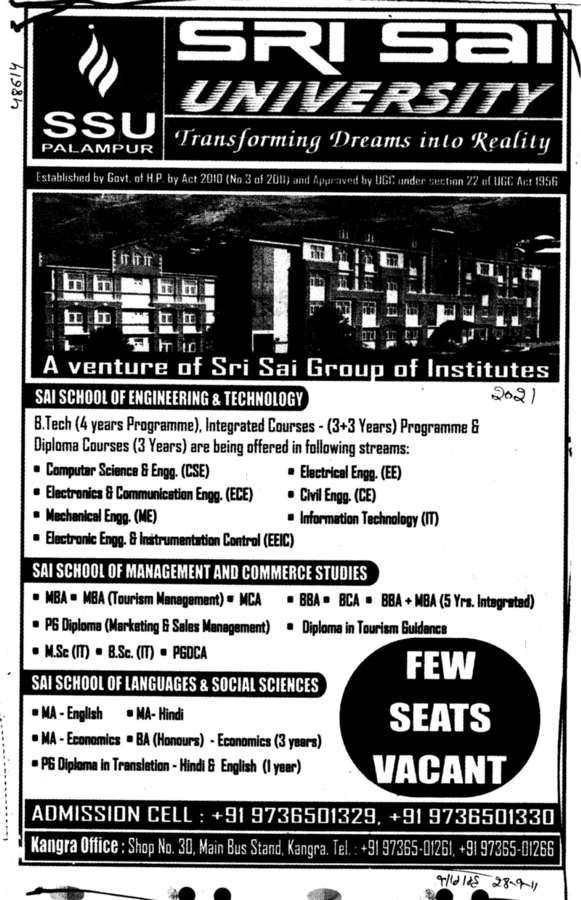 BTech BBA BCA and MBA etc (Sri Sai University)