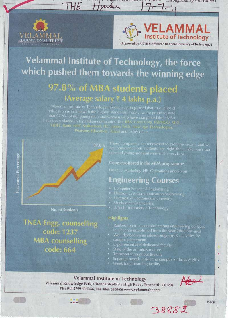 MBA and Engineering Courses (Velammal Institute of Technology)