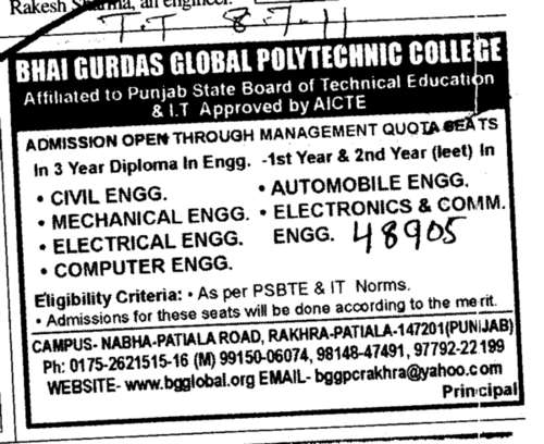 Diploma in Engineering (Bhai Gurdas Global Polytechnic College)