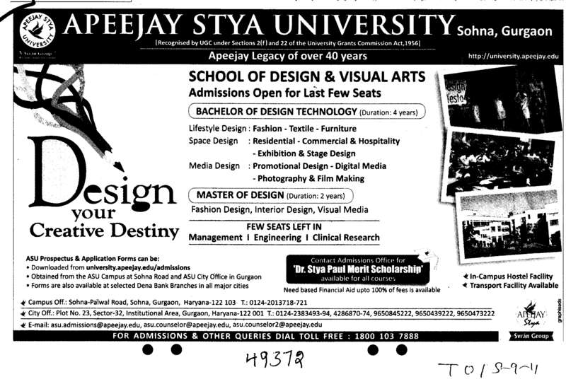 Master of Design (Apeejay Stya University)