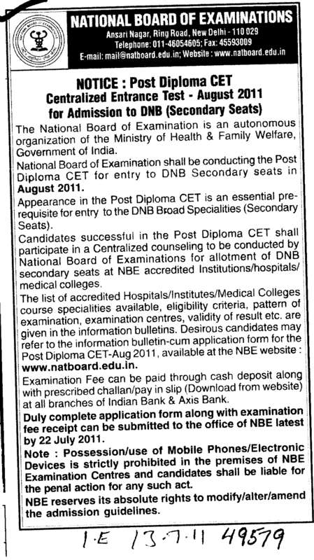 Post Diploma in CET (National Board of Examinations)