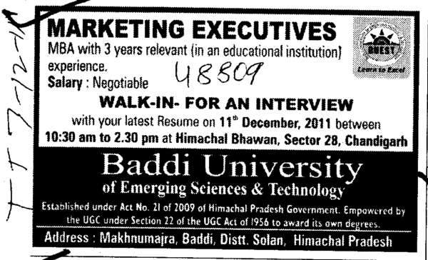 MBA with 3 years relevant (Baddi University of Emerging Sciences and Technologies)