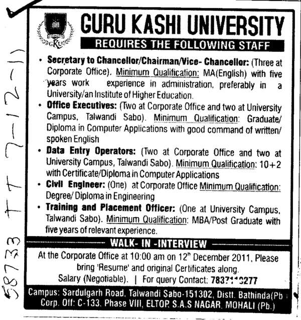 Office Executives Civil Engineer and TNP Officer etc (Guru Kashi University)