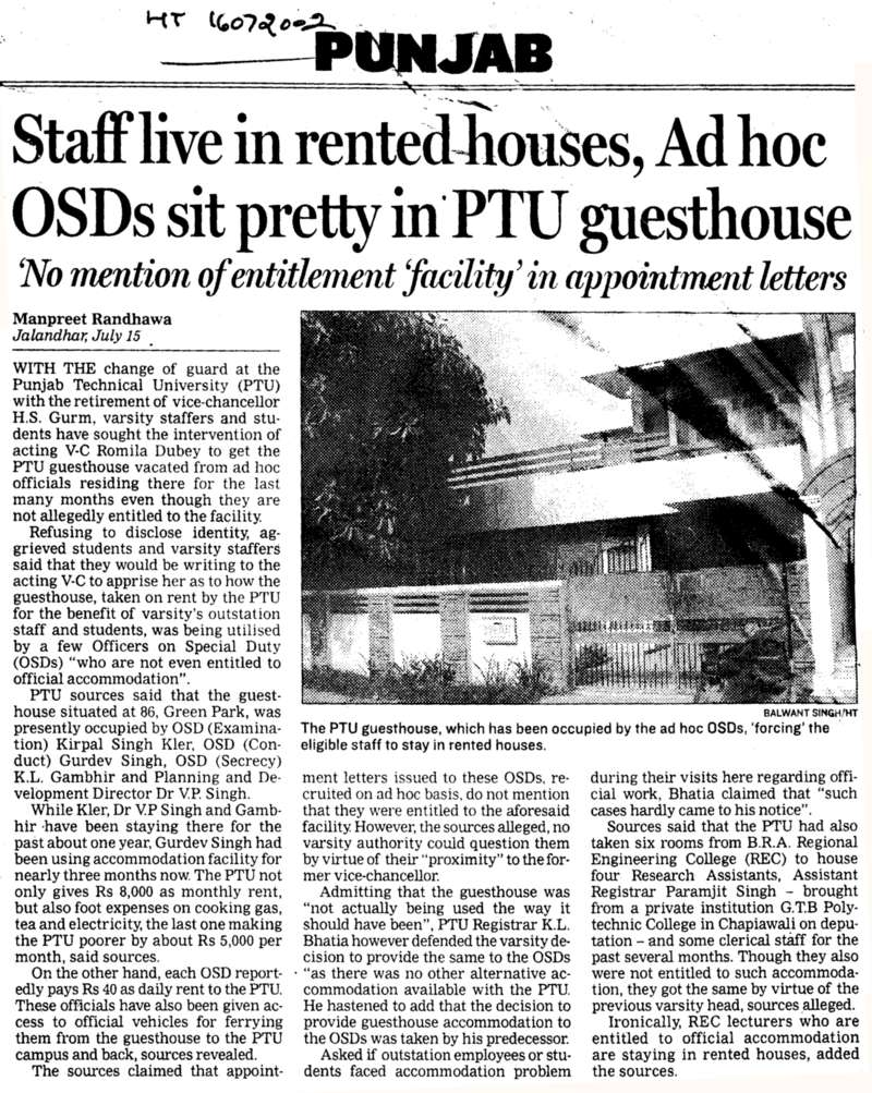 Staff live in rented houses adhoc OSDs sit pretty in PTU guesthouse (Punjab Technical University PTU)