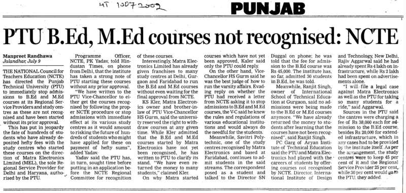 PTU BEd MEd Courses not recognised (Punjab Technical University PTU)