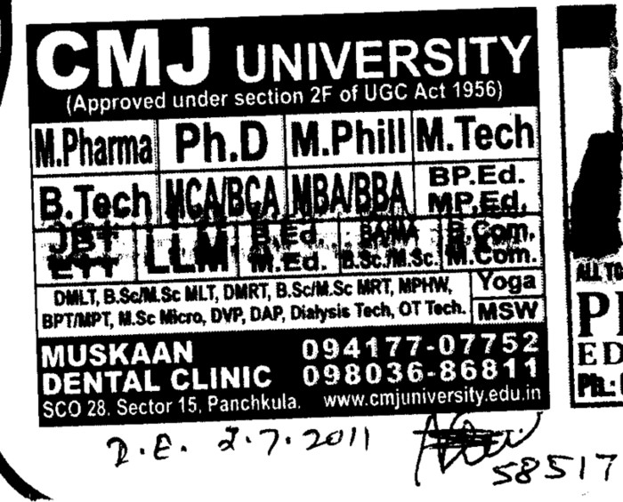 Ph D and M Pharmacy (Chander Mohan Jha (CMJ) University)