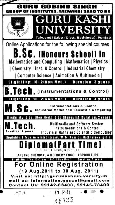 B Sc and M Tech (Guru Kashi University)