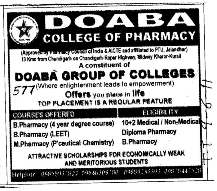 B Pharmacy and Diploma Pharmacy (Doaba College of Pharmacy)