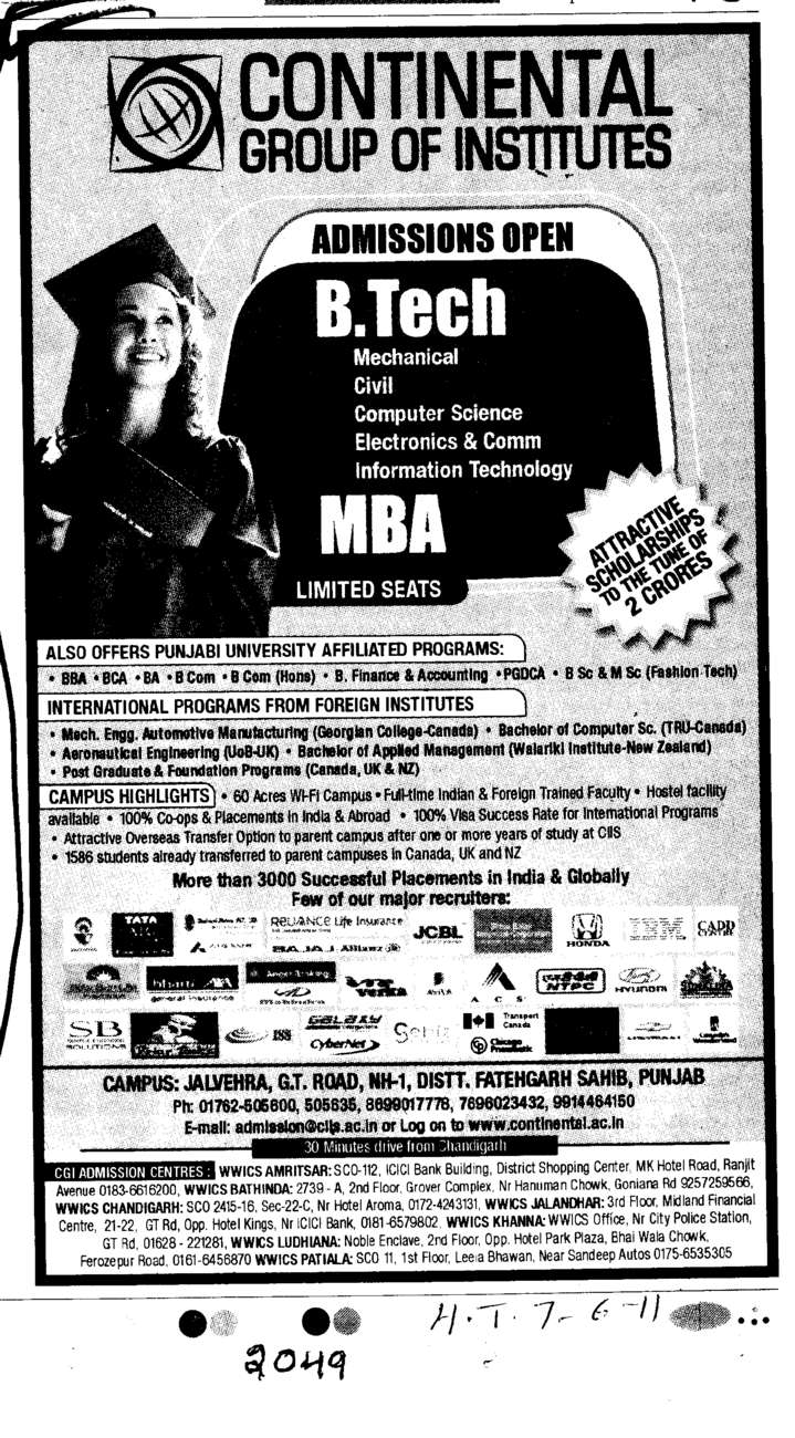 B Tech and MBA Course (Continental Group Institute Jalvehra)