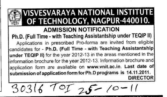 Ph D Programme (Visvesvaraya National Institute of Technology (VNIT))
