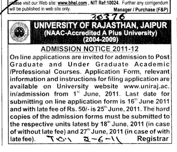 Professional Courses (University of Rajasthan)