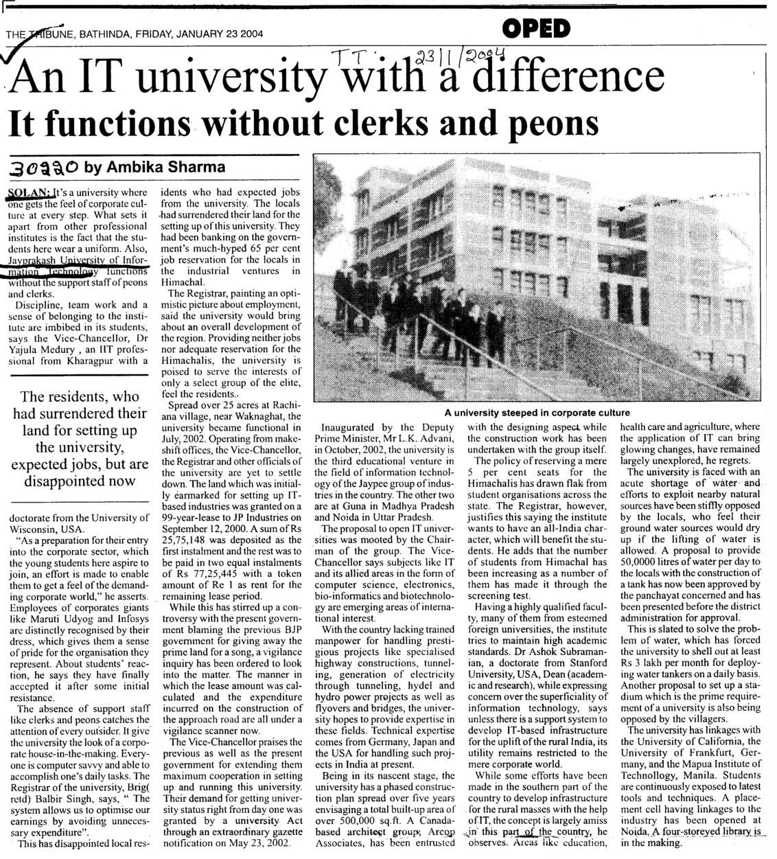 An IT University with a difference (Jaypee University of Information Technology (JUIT))