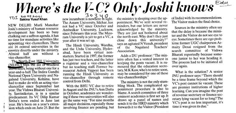 Wheres the VC only Joshi Knows (North Eastern Hill University (NEHU))