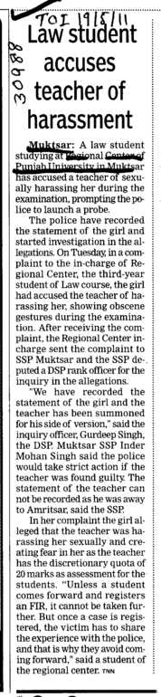 Law Student accuses teacher of harassment (Panjab University Regional Centre, Department of Law)
