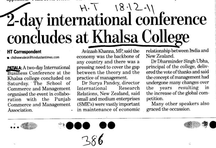 2 day international conference concludes at Khalsa College (Khalsa College)