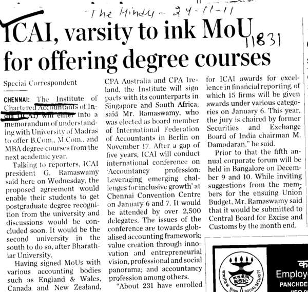ICAI varsity to ink MoU for offering degree courses (Institute of Chartered Accountants of India (ICAI))
