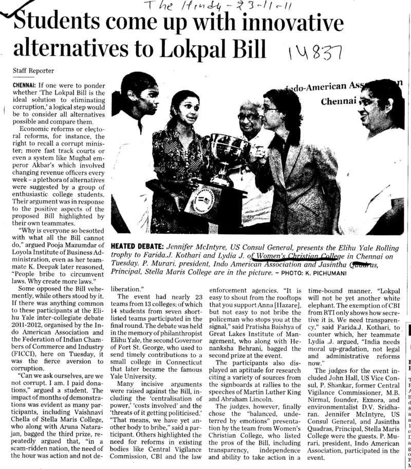 Students come up with innovative alternatives to Lokpal Bill (Womens Christian College (WCC))