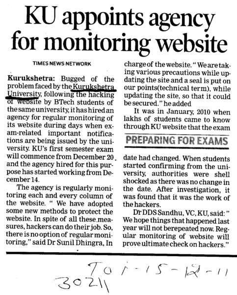 KU appoints agency for monitoring website (Kurukshetra University)