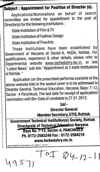 Appointment for position of Director (Directorate of Technical Education Haryana)