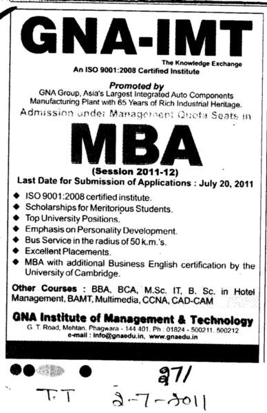 GNA IMT and MBA (GNA Institute of Management and Technology)