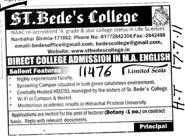 MA in English (St Bedes College)