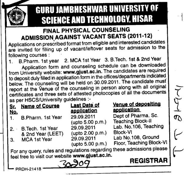 B Pharm MCA and BTech Programmes (Guru Jambheshwar University of Science and Technology (GJUST))