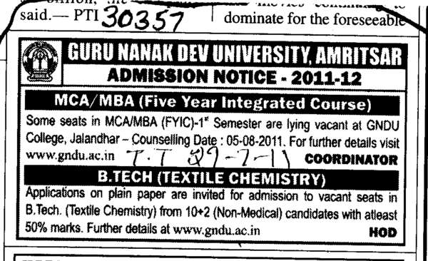BTech MBA and MCA (Guru Nanak Dev University (GNDU))