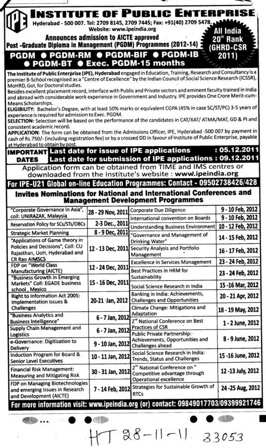 PGDM PGDM RM and PGDM IB etc (Osmania University)