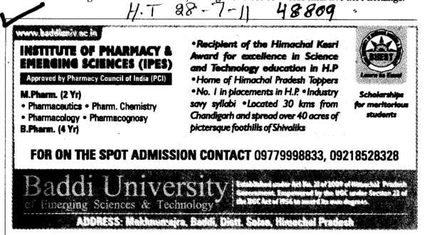 B Pharma and M Pharma Programmes (Baddi University of Emerging Sciences and Technologies)