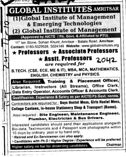 Proffessor Assistant Proffessor and Associate Proffesor etc (Global Institutes Group)