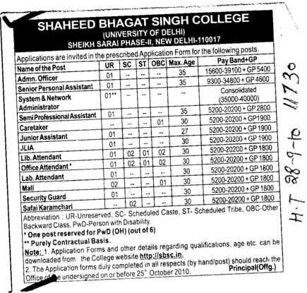 Proffessor Assistant Proffessor and Associate Proffesor etc (Shaheed Bhagat Singh College)