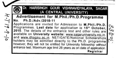 MPhill and PhD (Dr Harisingh Gour University)