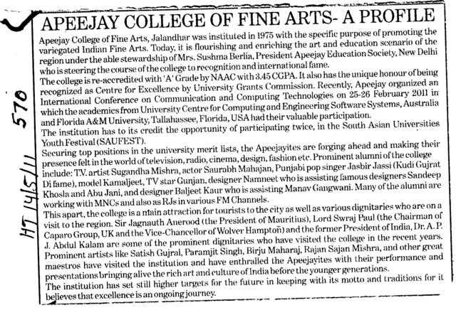 Excellence by University (Apeejay College of Fine Arts)