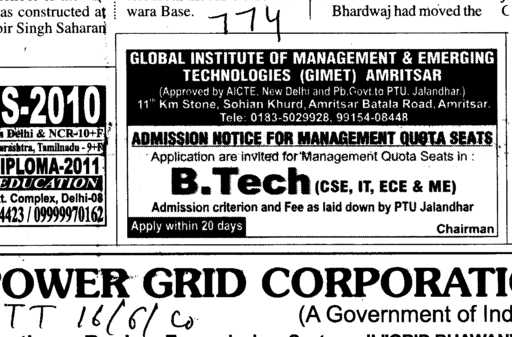 B Tech Management Quota Seats (Global Institute of Management and Emerging Technologies)