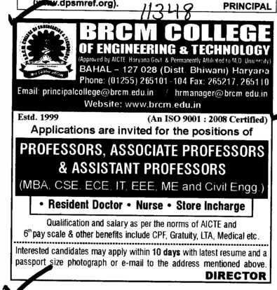 Professors Associate Professors and Assistant Professors (BRCM College of Engineering and Technology Bahal)