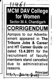Corrigendum (MCM DAV College for Women)