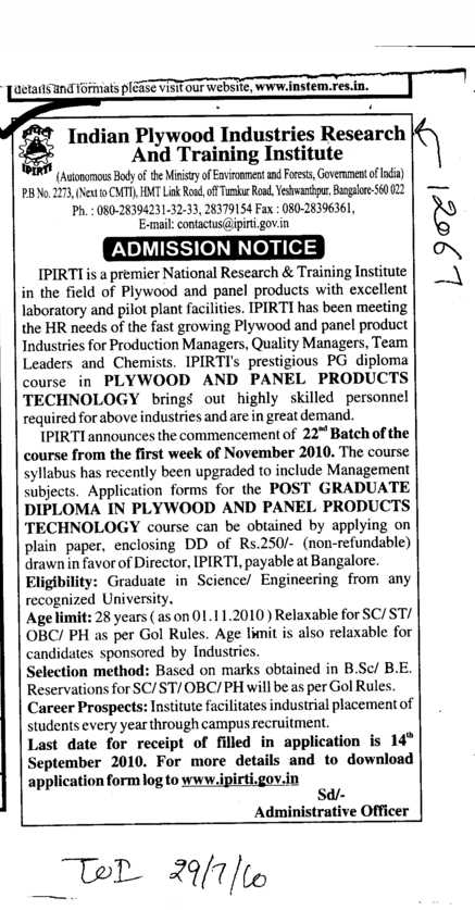 PG Diploma Course (Indian Plywood Industries Research and Training Institute (IPIRTI))