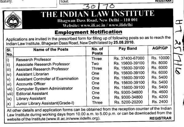 Technical Staff (Indian Law Institute)