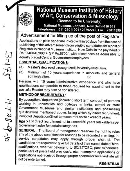 Post of Registrar (National Museum Institute of History of Art Conservation and Musicology (NMIHACM))