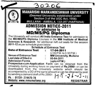 MD MS MDS and PG Diploma Courses (Maharishi Markandeshwar University)