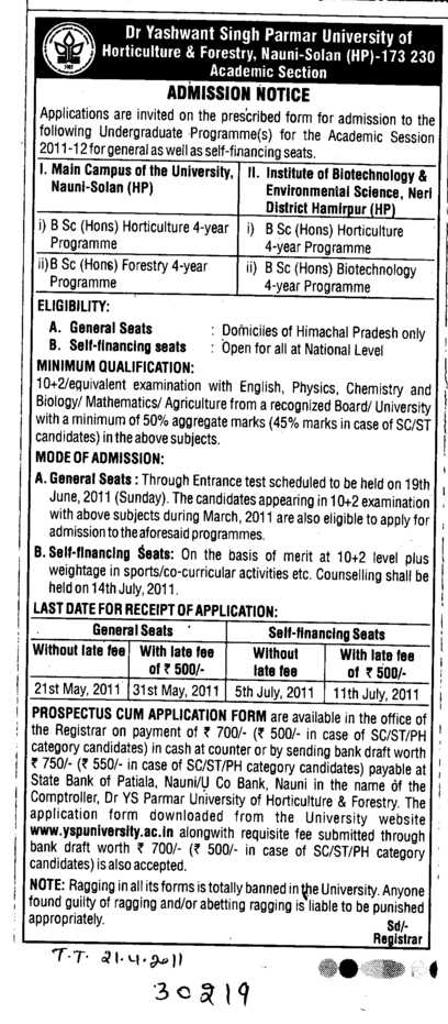 B Sc  (Dr Yashwant Singh Parmar University of Horticulture and Forestry)