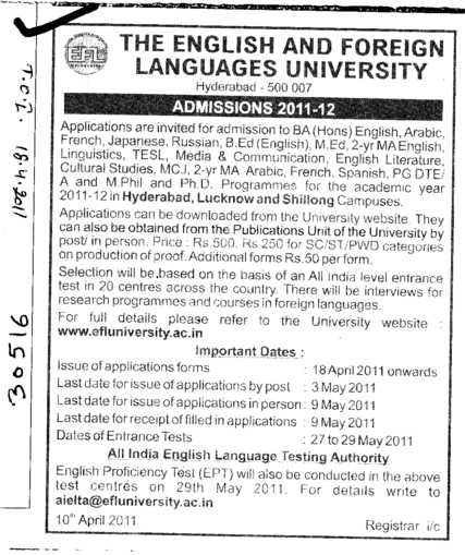 BA Regular Course (English and Foreign Languages University)