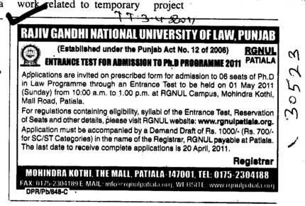 Ph D in Law Programme (Rajiv Gandhi National University of Law (RGNUL))