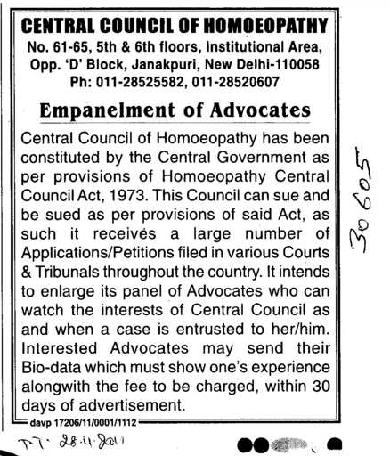 Empanelment of Advocates (Central Council of Homoeopathy (CCH))