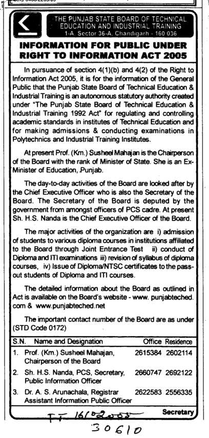 Diploma and ITI (Punjab State Board of Technical Education (PSBTE) and Industrial Training)