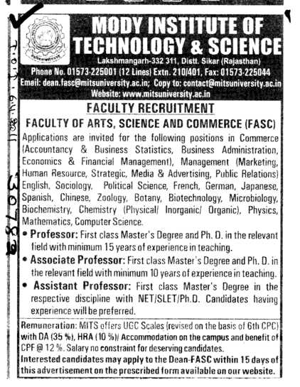 Faculty of Science and Commerce (Modi University of Science and Technology (MITS))
