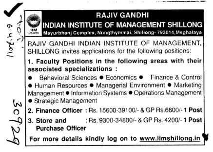 Finance and Store Officer (Rajiv Gandhi Indian Institute of Management (RGIIM))