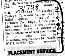 Principal Lecturer and Accountant (BR Mahindra Polytechnic College)