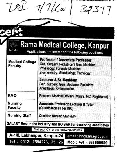 Professors Lecturer and Associate Professors (Rama Medical College Hospital and Research Centre)